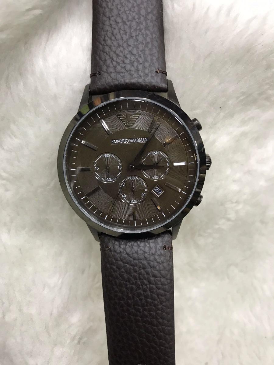 Relógio Armani Couro Fundo Preto + Brinde - R  499,00 em Mercado Livre ab24609850