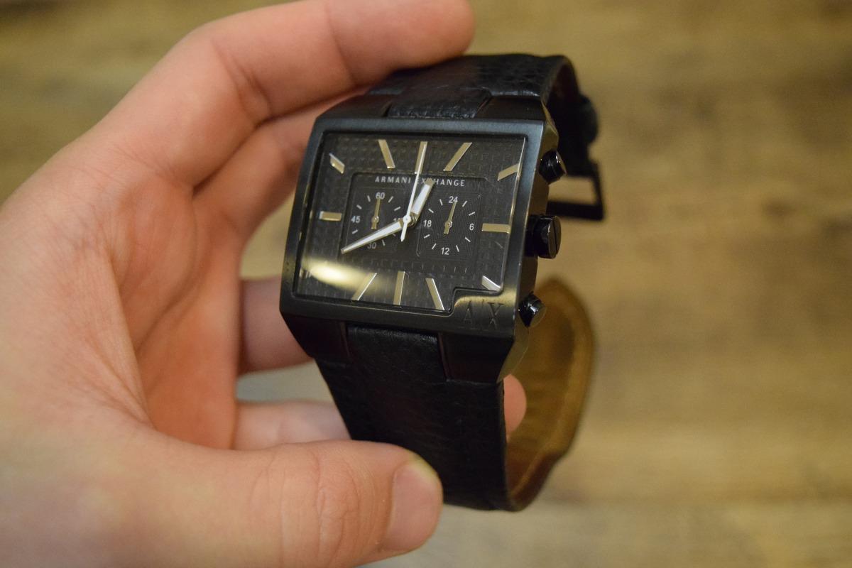 45c34ab210b Relógio Armani Exchange Ax2035 Retangular Pulseira Couro - R  619