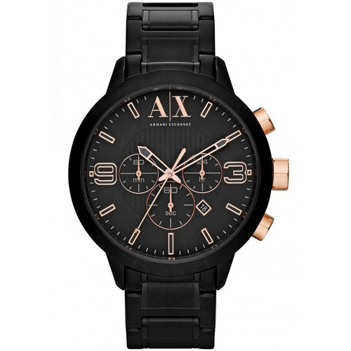 relógio armani exchange cronógrafo ax1350/1pn preto/rose