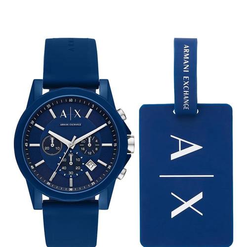 relógio armani exchange outerbanks azul  ax7107/8an