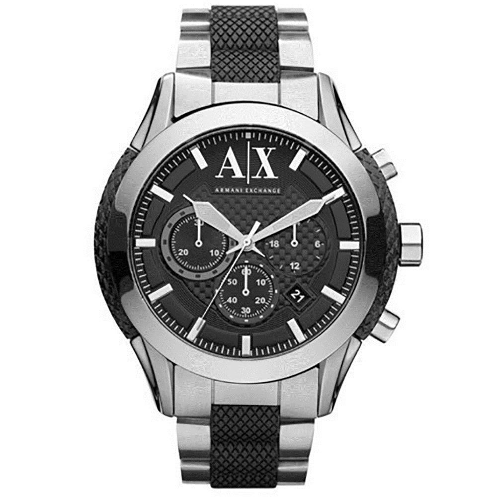 bf259aa93f6 relógio armani exchange pulseira de aço e borracha uax1214 z. Carregando  zoom.