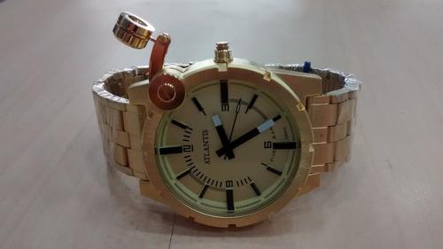 relógio atlantis a3283 estilo diesel aço dourado