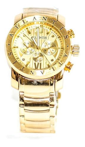 relógio atlantis a3310 dourado fundo dourado - atacado