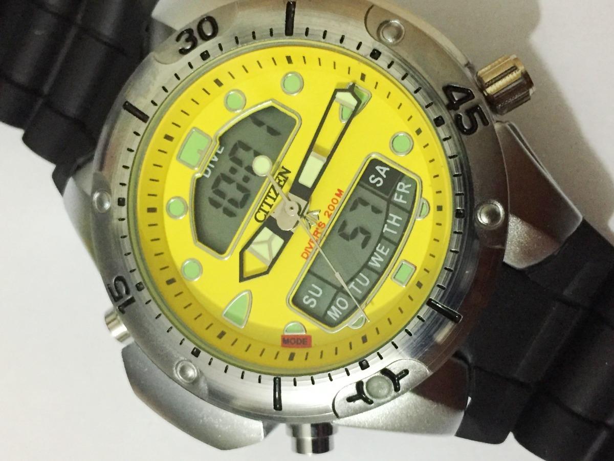 c07b07f7854 relógio atlantis aqualand jp1060 citizen amarelo borracha. Carregando zoom.