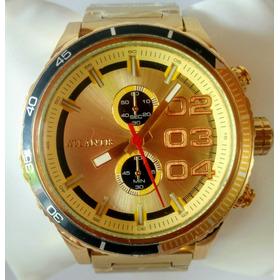 Relógio Atlantis Dourado Analógico Frete Grátis