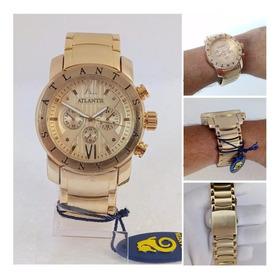 Relógio Atlantis Dourado Estilo Bulgari Original