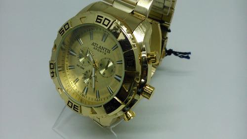 relógio atlantis dourado grande