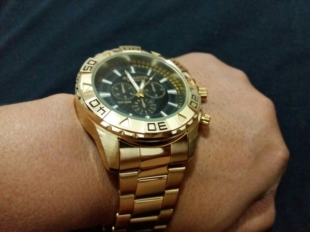 ec7d8c76eed relógio atlantis dourado ponteiro e a prova d água. Carregando zoom.