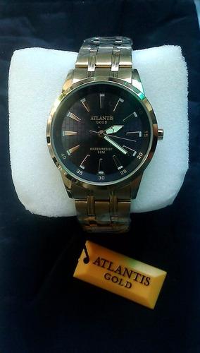 relógio atlantis esportivo gold a prova dágua original