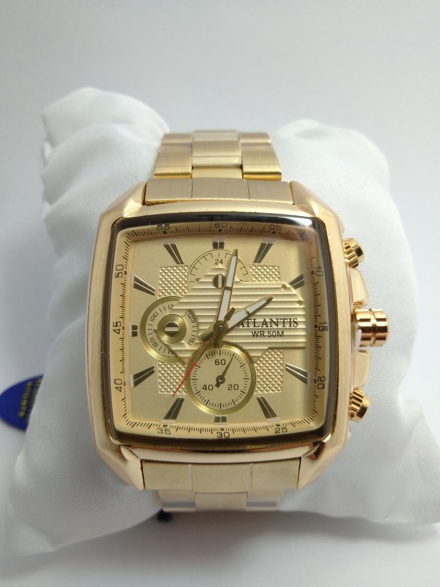 60ee92e9d9b relógio atlantis exclusive masculino aço dourado + caixa. Carregando zoom.
