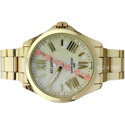 6807cb7f40c relógio atlantis feminino aço folheado ouro diametro de 4cm. Carregando  zoom... relógio atlantis feminino