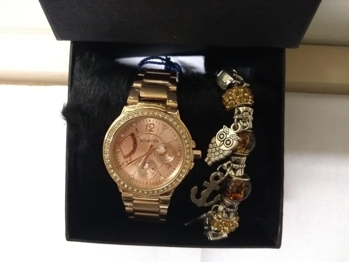 dcaa187916a relógio atlantis feminino rosé com strass + pulseira luxo. Carregando zoom.