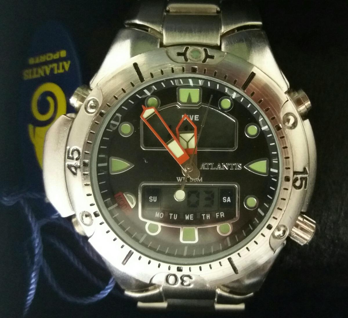 8e0f929bc7f relógio atlantis g3154 masculino aqualand prateado. Carregando zoom.