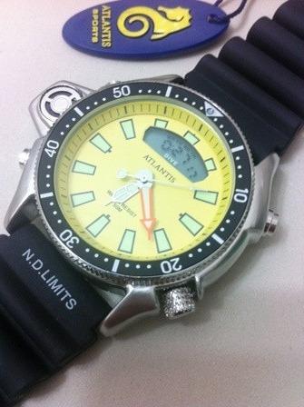 e157ecad261 Relogio Atlantis G3220 Serie Prata Amarelo Aqualand Borracha - R  85 ...