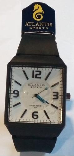 relógio atlantis g5531 preto fundo branco ponteiro azul