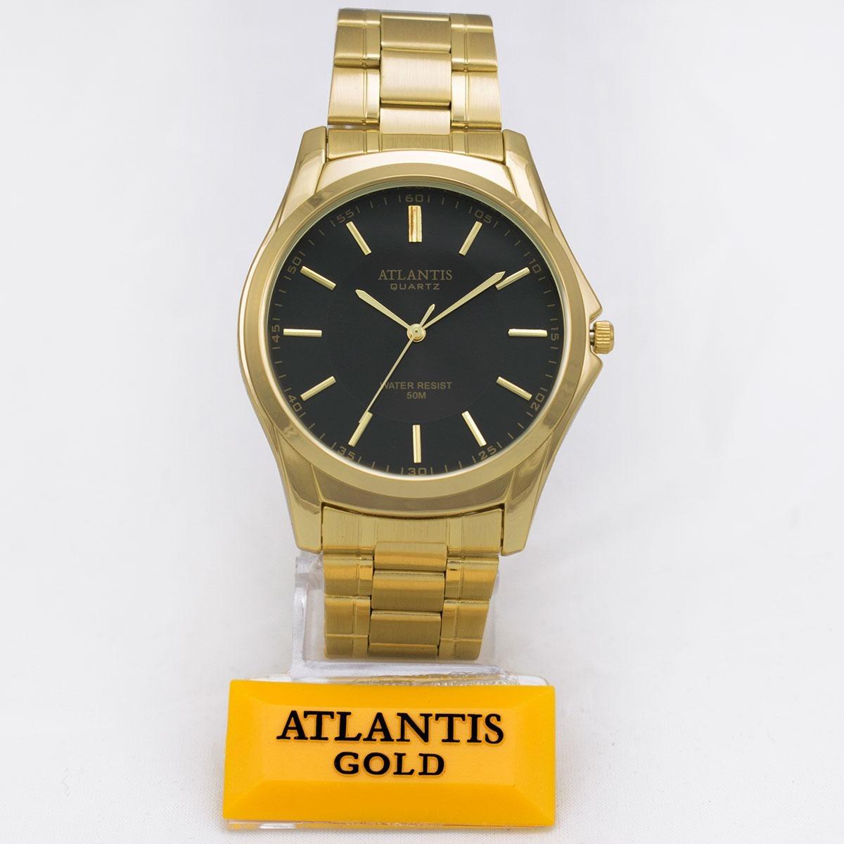 e3f5868628b Relógio Atlantis Marca Original Dourado Preto Aço Homem Soci - R  53 ...