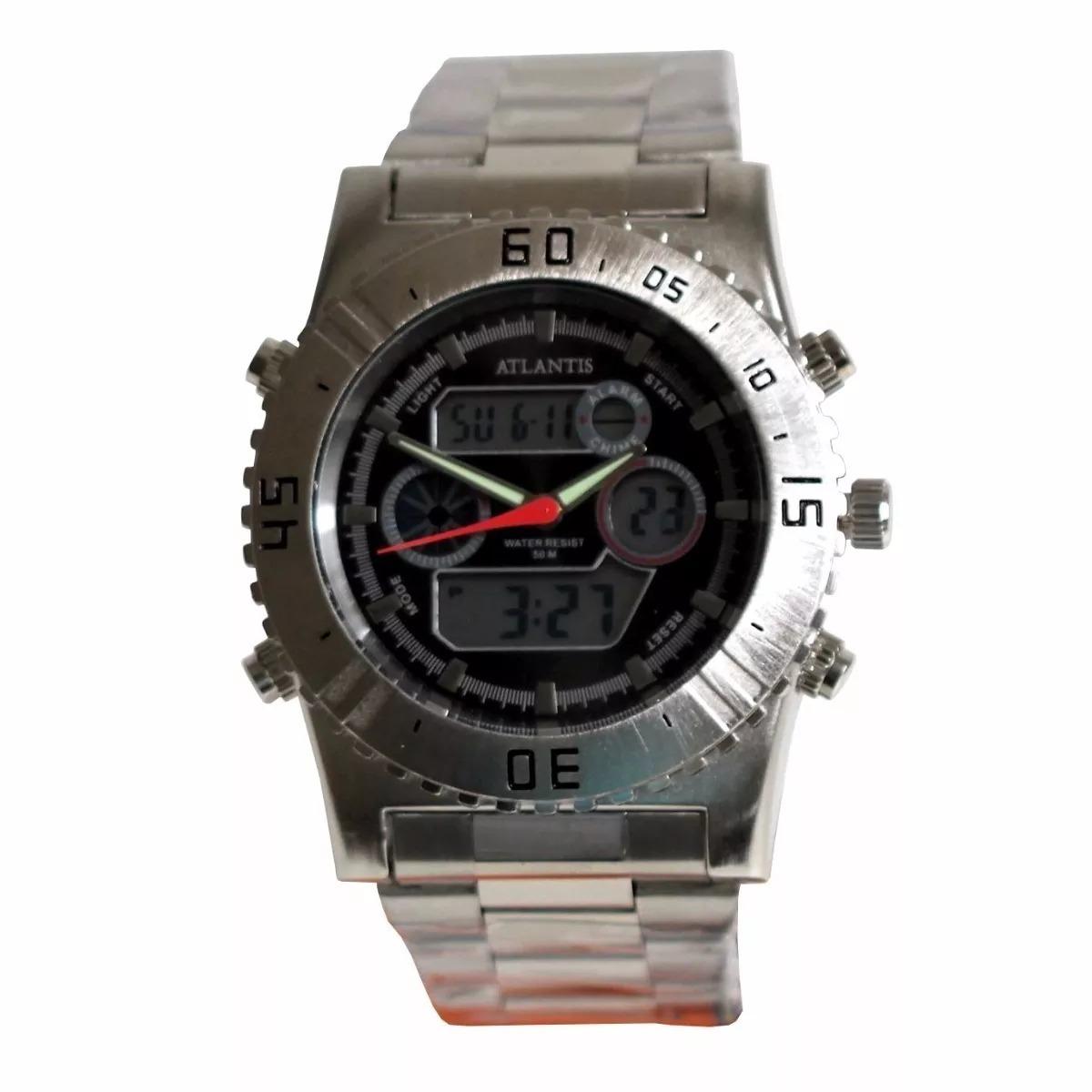 add04f9bccc Relógio Atlantis G3211 Prata Fundo Preto Masculino - R  69