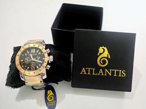 relogio atlantis masculino   a3361 dourado e prateado