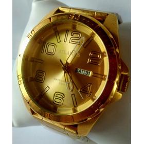 Relógio Atlantis Masculino De Luxo Dourado