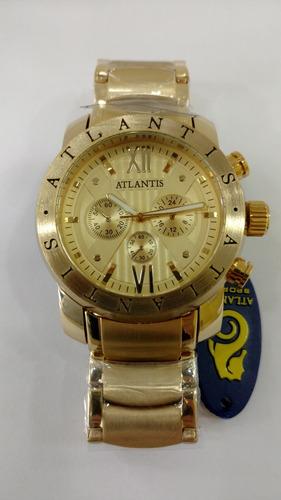 relógio atlantis masculino dourado aço inox robusto!