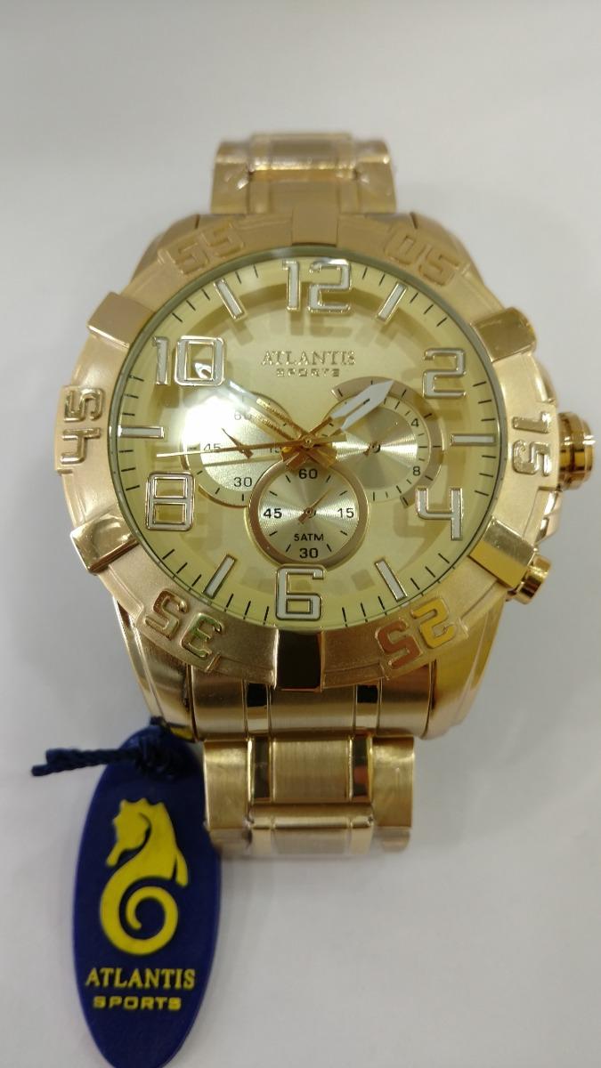 7d7f7ec62d1 Relógio Atlantis Masculino Dourado Original Frete Gratis - R  129