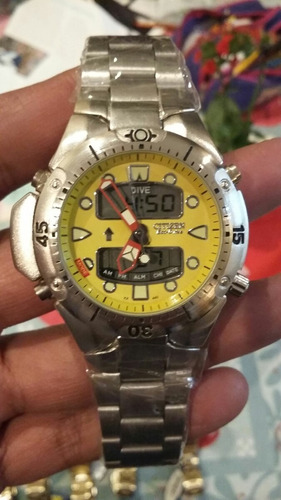 relogio atlantis mod jp1060 aqualand amarelo aço =citizen