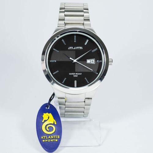 relógio atlantis original calendario aço homem prata elite