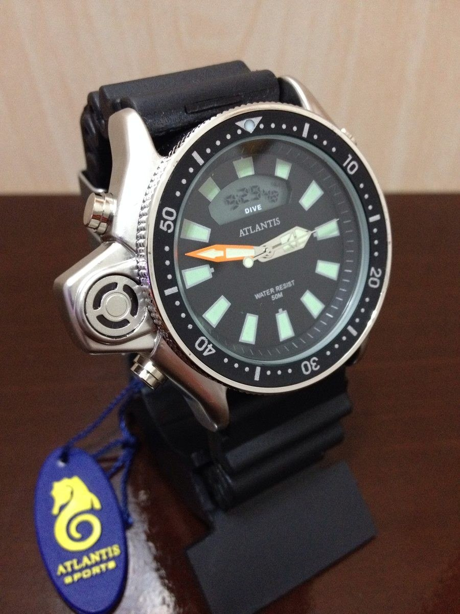 8159cc407ed relogio atlantis original serie prata aqualand borracha 3220. Carregando  zoom.