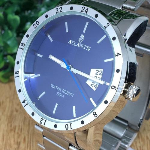 relógio atlantis prata original com calendário