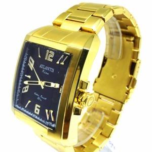 relógio atlantis prime dourado fundo preto - s012g