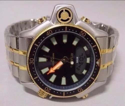 56c6ff2d68a Relogio Atlantis Serie Ouro Aqualand Aço G3220 Citizen - R  109