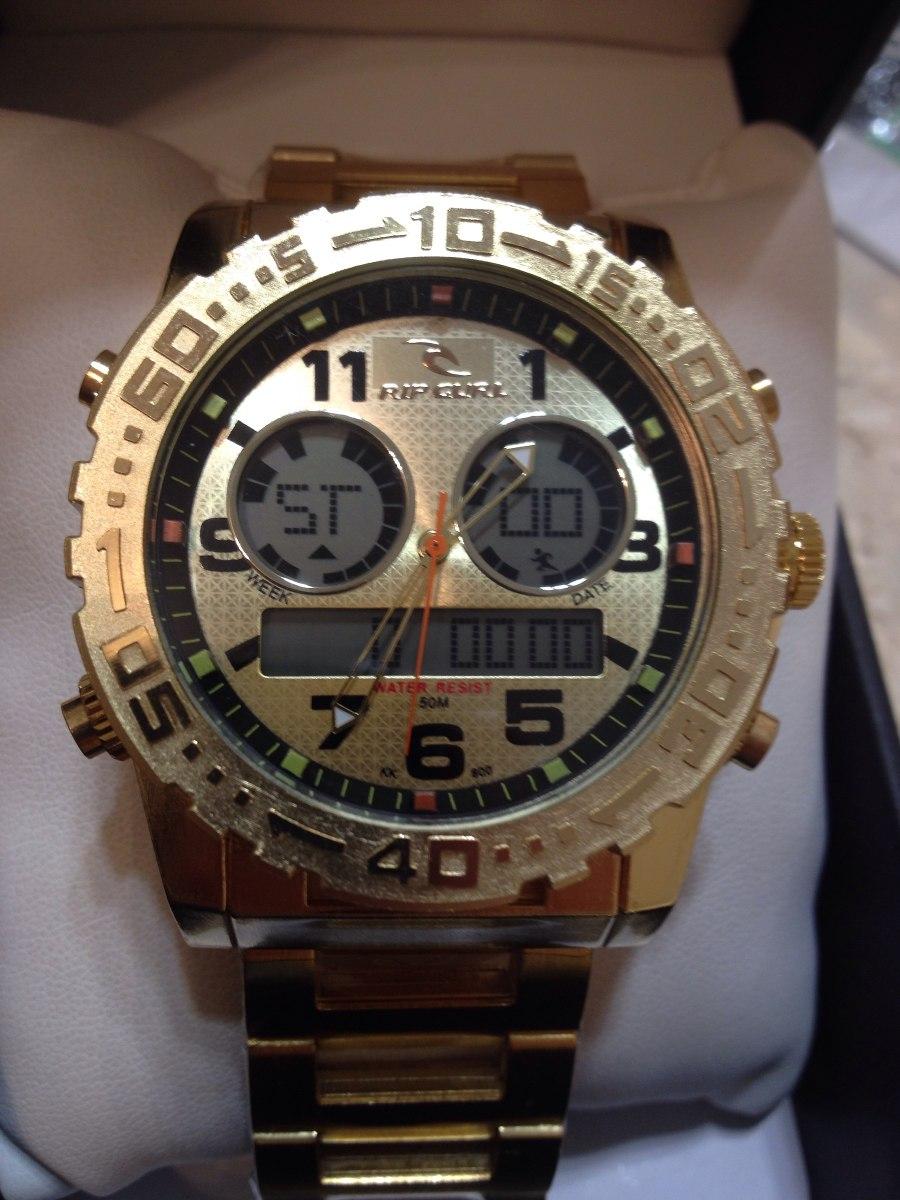 1d45ca9079c relogio atlantis sports modelo a3228 ripcurl todo dourado. Carregando zoom.