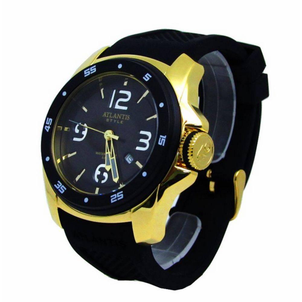 70bb2c88206 relógio atlantis style g3216 preto pulceira borracha - mascu. Carregando  zoom.