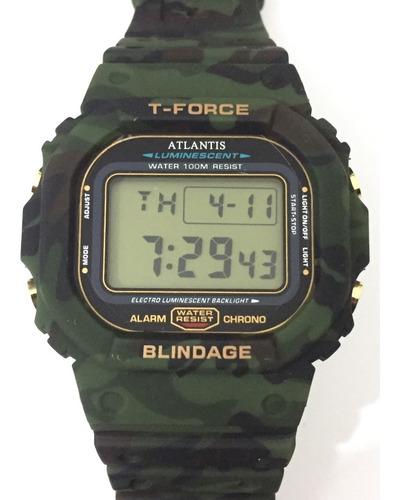 relogio atlantis t-force 7305a resistente camuflado militar