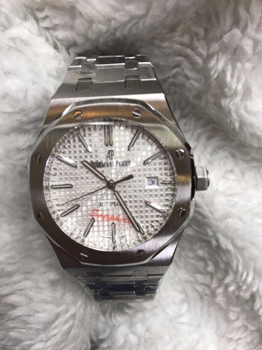 2eadcbae56b Relógio Audemars Piguet Automatico Aço Fundo Branco + Brinde - R  649
