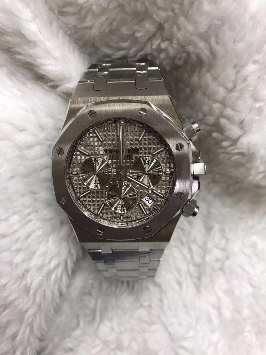 42631622c49 relógio audemars piguet automatico aço fundo cinza + brinde. Carregando  zoom.