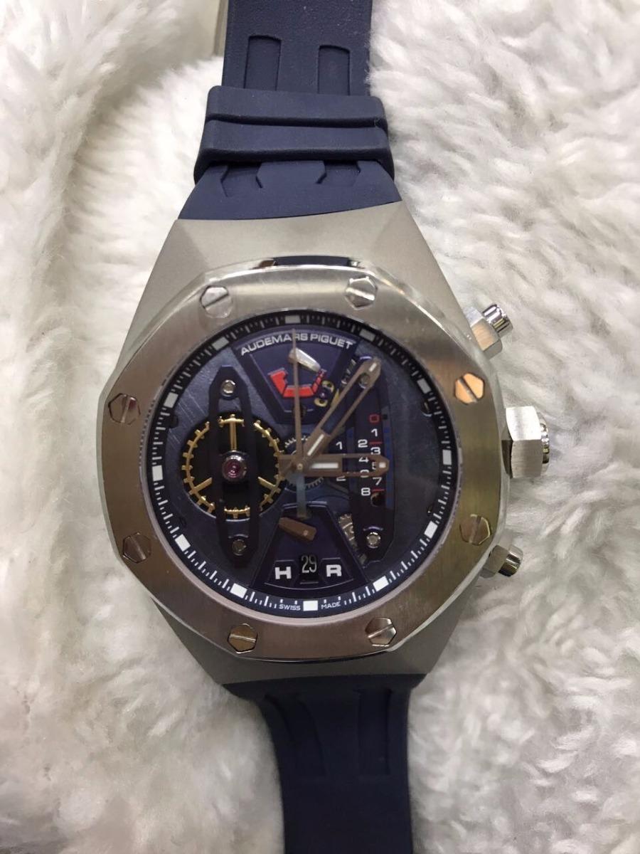3353daf6290 relógio audemars piguet royal oak cinza fundo azul + brinde. Carregando  zoom.