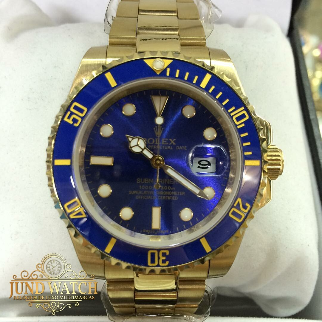 f394375c460 Relogio Aut Luxo Submariner Gold Blue 012 Cx Manual Garantia - R ...