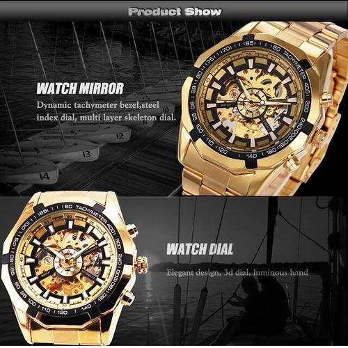 relógio automático banhado a ouro dourado esquelet luz negra