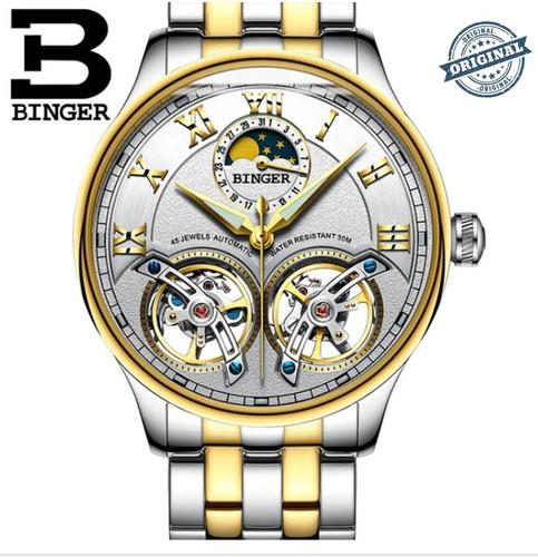 relógio automático binger double tourbillon gold luxo 3bar