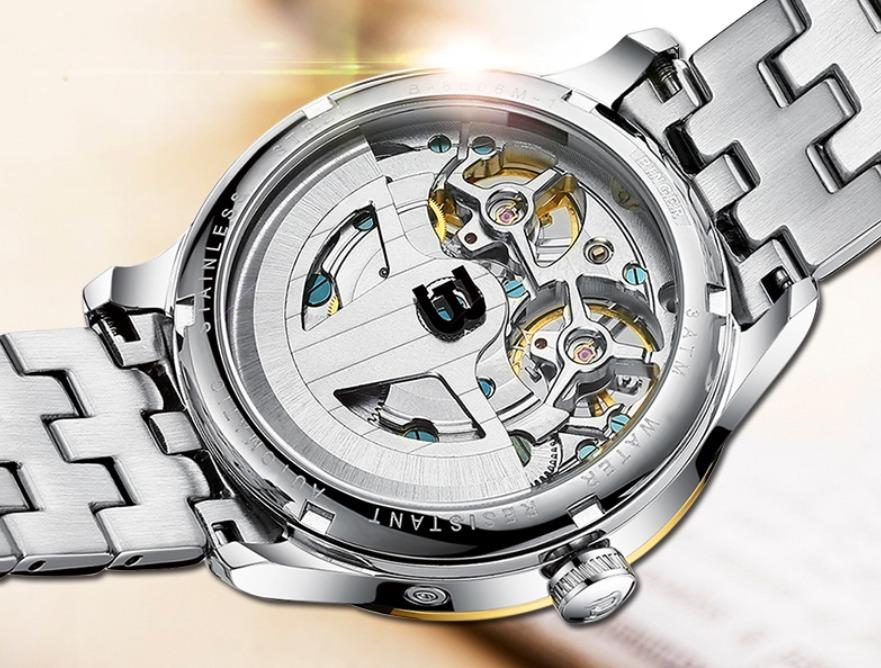 eff334d5a46 relógio automático binger double tourbillon gold luxo 3bar. Carregando zoom.