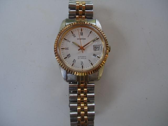 6bb7cca004b Relógio Automático Cosmos Japan Semi Novo Dourado E Prata - R  250 ...