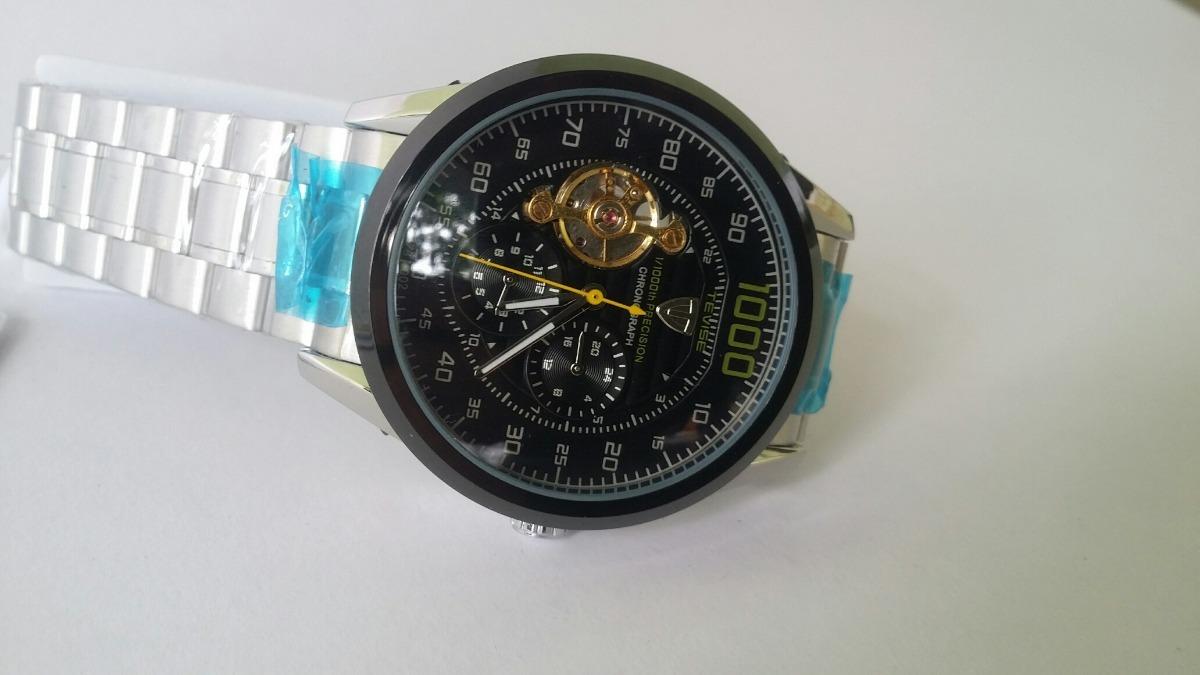 c1d0755c641 relogio automático esqueleto com cronografo de aço tevise. Carregando zoom.