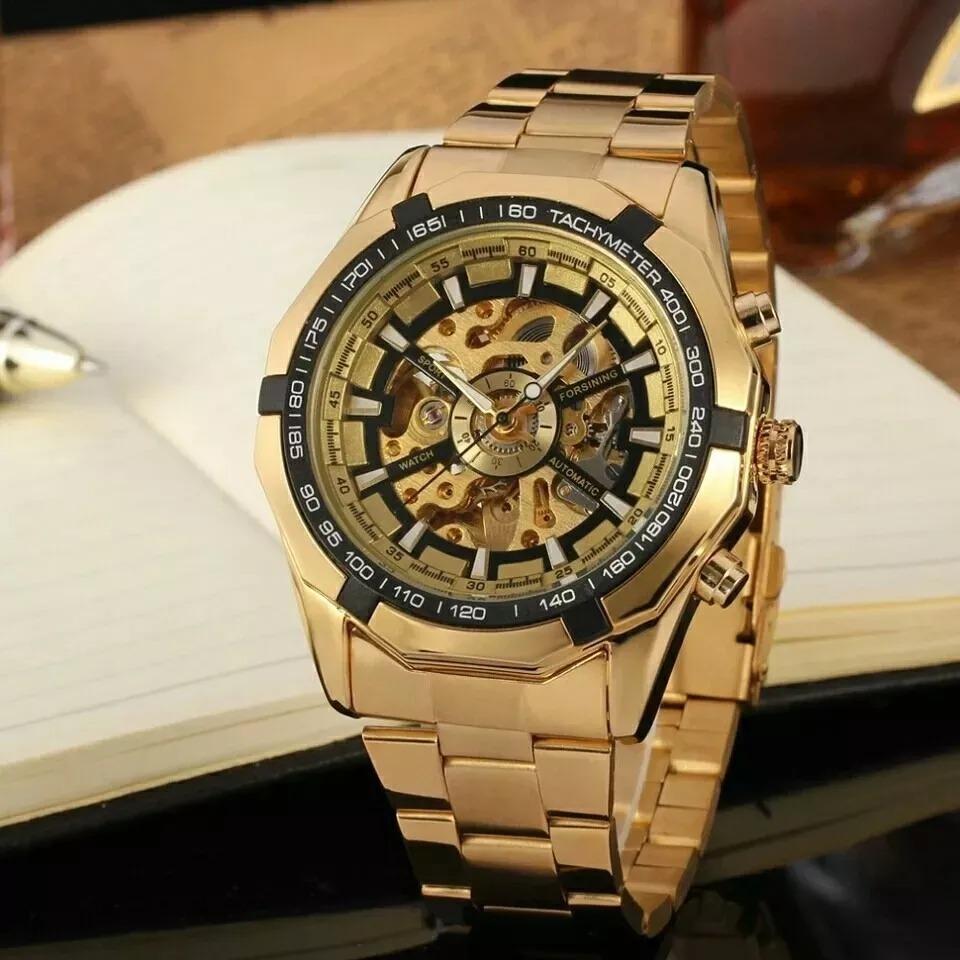 dee6dc2e6f8 relógio automático mecânico turbilhão dourado esqueleto ouro. Carregando  zoom.