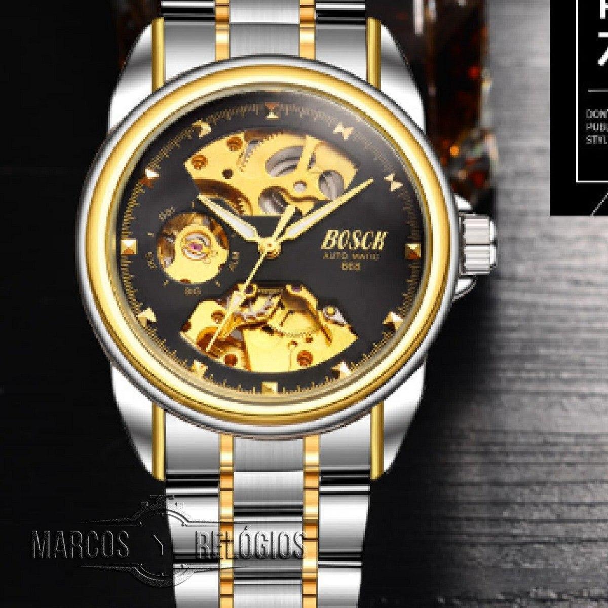 61f18c209d2 Relógio Automático Social Masculino Esqueleton E Prova Dágua - R ...