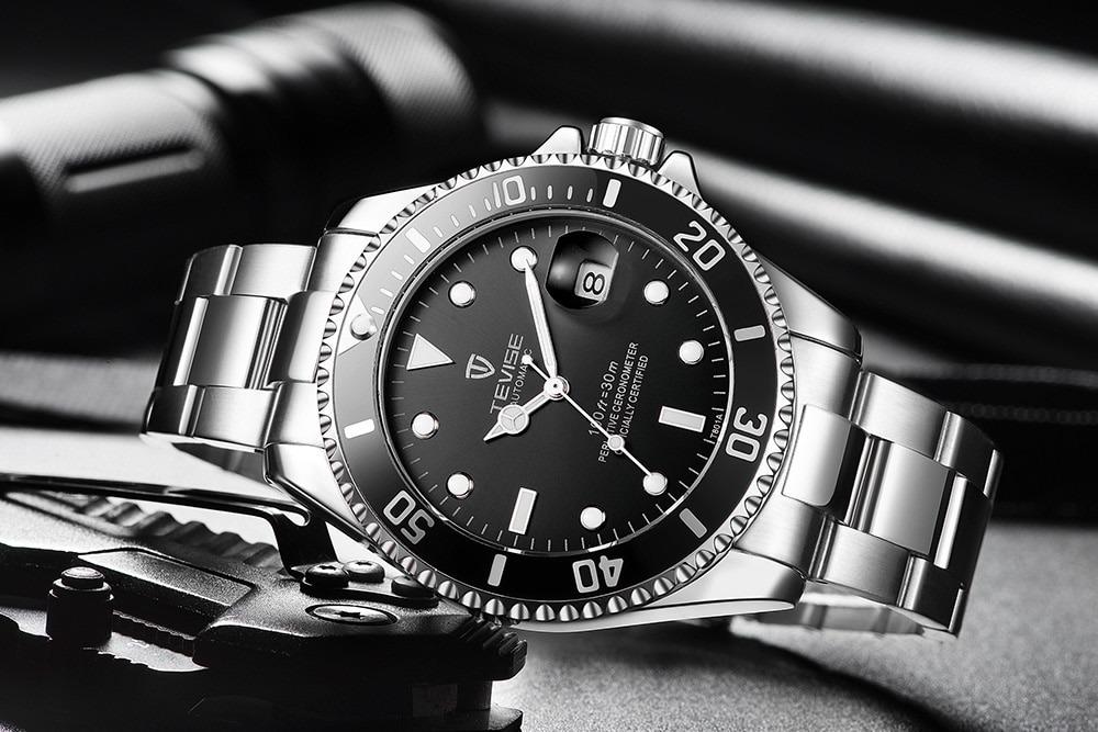 7ff04766faa relógio automático tevise masculino visor preto original. Carregando zoom.