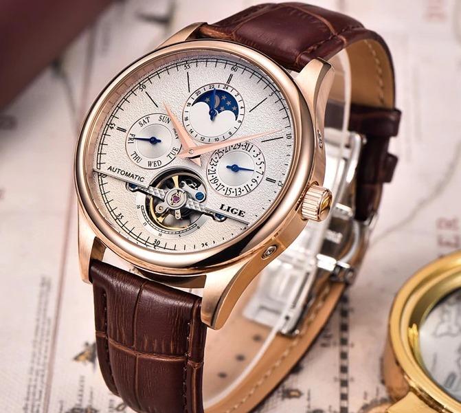 1629f46302c Relógio Automático Tourbillion Luxuoso Legítimo Lige 5atm - R  289 ...