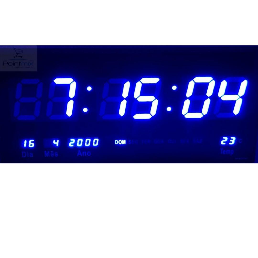 17b6adbcf07 Relógio Azul De Parede Lindo Luz De Leds Original - R  119