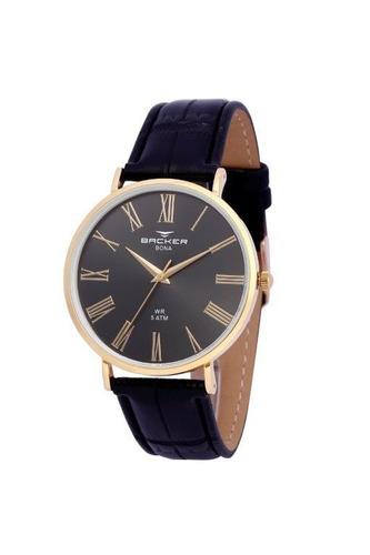 relógio backer masculino slim 10808142m pr original e barato