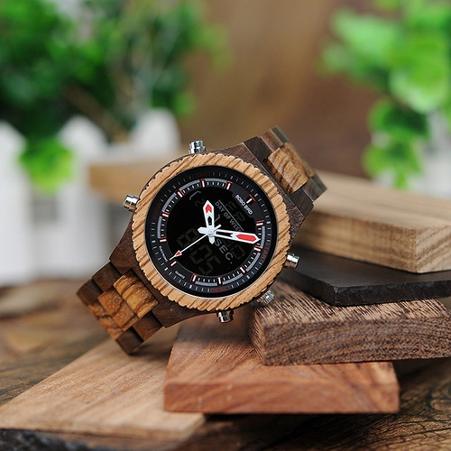 relógio bambu madeira anal digital p02b bobo bird